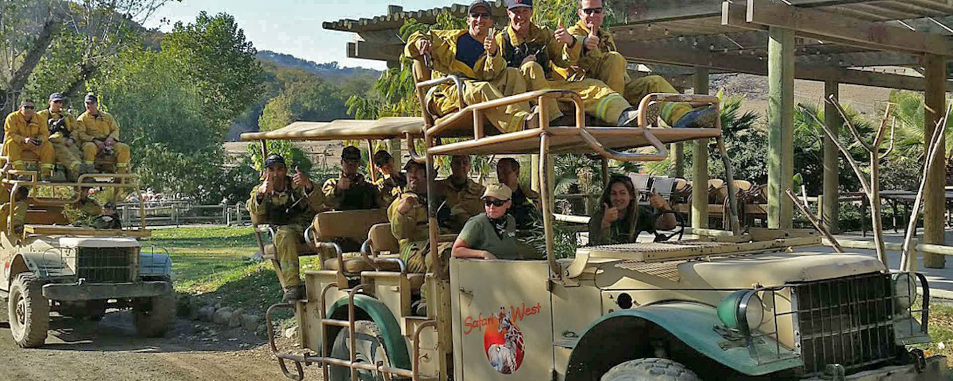 Firefighters enjoy a Safari after Tubbs Fire